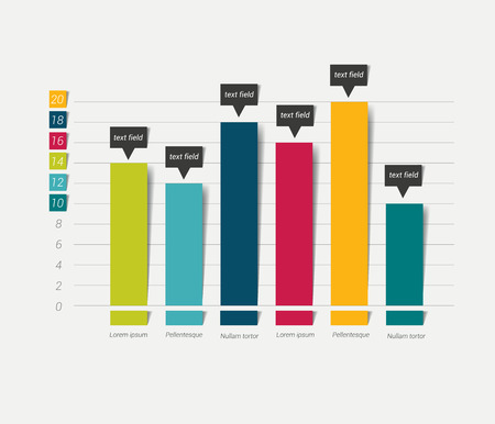 Vlakke grafiek, grafiek. Gewoon kleur bewerkbaar. Infographics elementen.