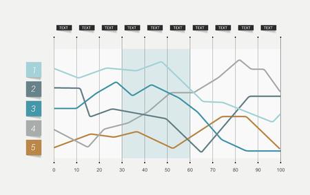 フラットなチャート。並ぶのグラフ。単に編集可能な色。インフォ グラフィックの要素。