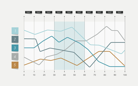 Vlakke grafiek. Bekleed grafiek. Gewoon kleur bewerkbaar. Infographics elementen. Stock Illustratie