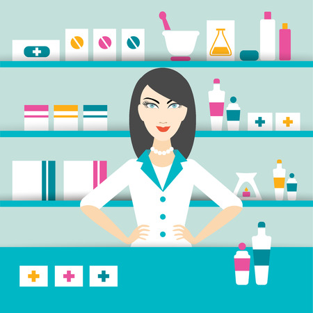 Brunette doctor woman in drug, pharmacy store. Flat design.