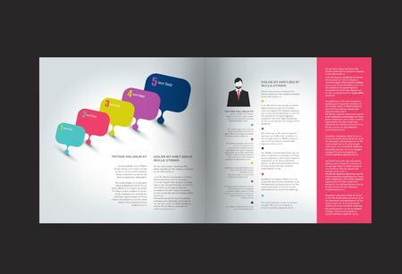 element template: Booklet page. Magazine layout for infographics. Web template.