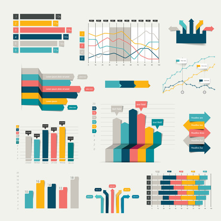 design objects: Set of business flat, 3D design graph. Infographics charts. Illustration