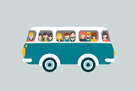viagem: ônibus retro com passageiros. Ilustração