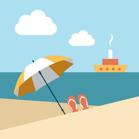 beach umbrella: Flat summer beach. Umbrella wit boat. Vector.