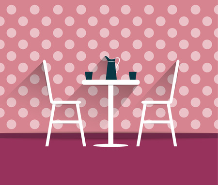 restaurant food: Coffee shop interior. Chairs and table. Flat design vector.