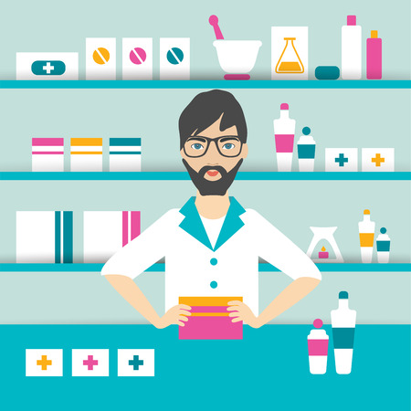 Young pharmacy chemist man standing in drugstore. Flat vector. Vettoriali