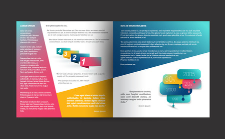 layout: Brochure design. Annual report sample text page. Illustration