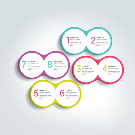 duo: Two elements scheme, diagram. Infographic duo template. Various color banners. Illustration