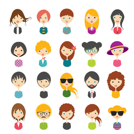 beard woman: Big set of avatars profile pictures flat icons. Vector illustration.