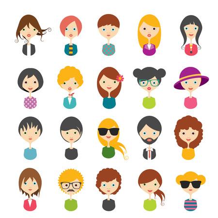 perfil de mujer rostro: Gran conjunto de avatares fotos de perfil iconos planos. Ilustraci�n del vector. Vectores