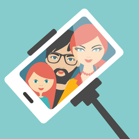 woman smartphone: Family selfie photo. Flat design.