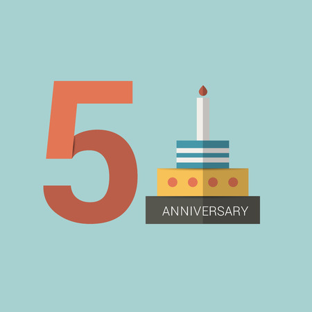 five years': Anniversary sign. Five years. Flat design.