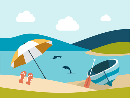 sand beach: Summer beach with yellow umbrella. Flat design. Illustration