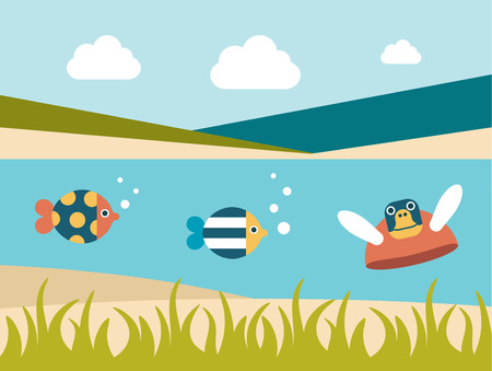 swiming: Summer beach. Sea cross section. Fishes and turtle. Flat design.