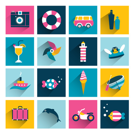 Summer icons.Flat long shadow color design. Vector