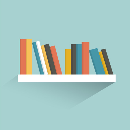 shelf: Book shelf. Flat design. Vector.