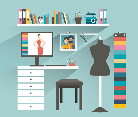 designer: Office workplace. Fashion designer office. Flat design vector illustration.