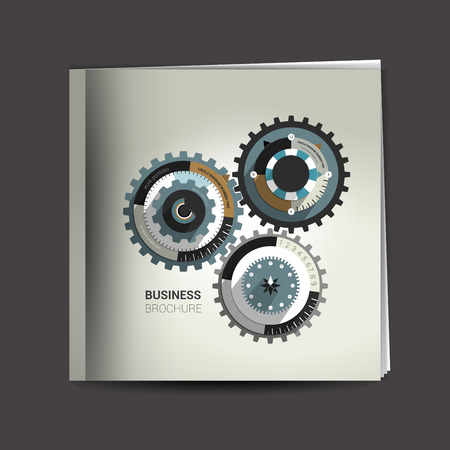 catalog design: Brochure, report layout cover template. Cog wheel.