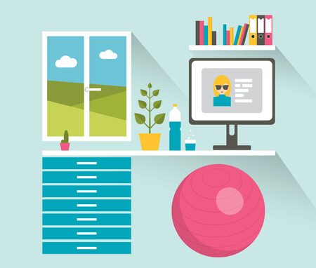work space: Office workplace. Healthy work space. Flat design vector illustration.