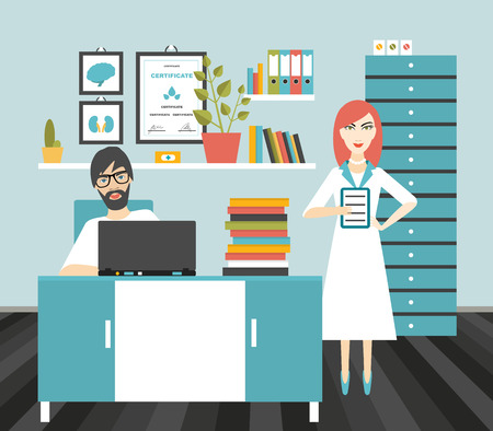 hospital dibujo animado: Doctor y lugar de trabajo de oficina de la enfermera. Ilustración vectorial Flat.
