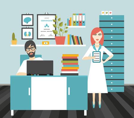Lekarz i pielęgniarka biura pracy. Mieszkanie ilustracji wektorowych.