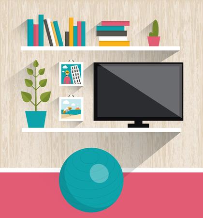 tv room: Living room interior. Tv and book shelves. Flat design vector illustration.