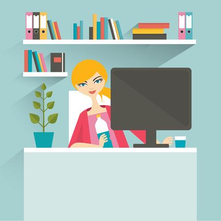 secretaries: Lugar de trabajo oficina mujer. Secretario. Ilustración vectorial Flat.