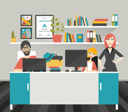 fellows: Colleague office workplace. Flat vector illustration. Illustration