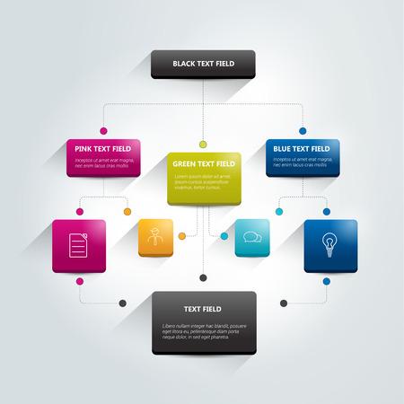 Infographics flowchart. Gekleurde schaduwen regeling. Stock Illustratie