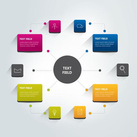 Flujo esquema infografía tabla redonda. Vector.