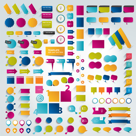 web button: Big Collections of infographics flat design elements. Vector illustration.