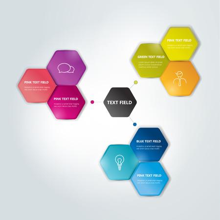 Circle hexagonal scheme, chart. Infographics flowchart.