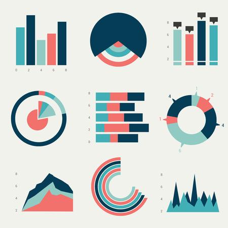 Flat charts, graphs. Vector design. Illustration