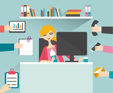 oficina: Mujer Secretaria ocupada gestionar su trabajo con una sonrisa y relajarse. Vectores