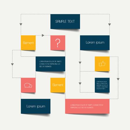 flujo: Flujo esquema de cartas. Infograf�a elementos. Dise�o del vector.
