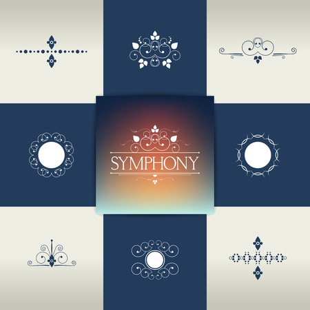 calligraphic design: Collection of elegant ornament elements, symbols. Vector calligraphic design.