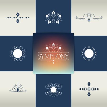 Collection of elegant ornament elements, symbols. Vector calligraphic design.