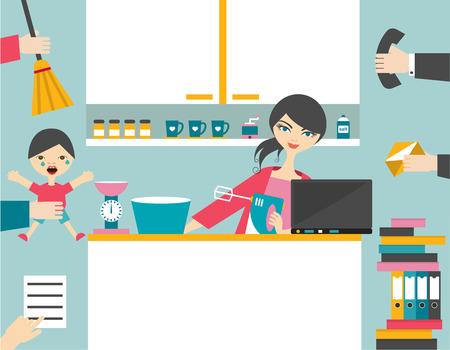 Bezige moeder multitask vrouw beheer van de spellen werken met een glimlach.