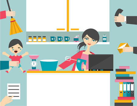 mommy: Busy mother multitask woman managing the games work with smile.
