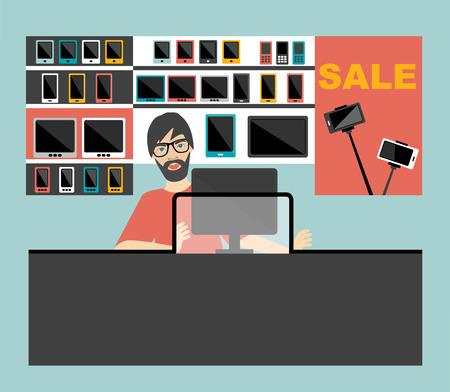 telephone salesman: Electronic salesman in the supermarket. Flat design.