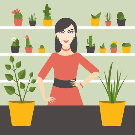 florist: Florist sales woman in flower store. Flat design. Illustration
