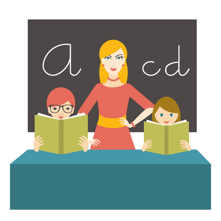 class room: Teacher woman with pupils reading and books in class room. Flat design.