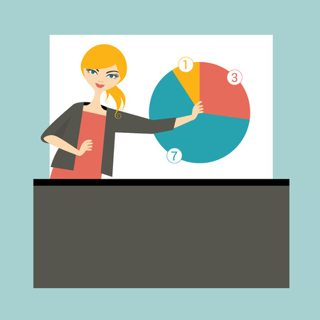 Business woman lector teaching and training people. Flat vector illustration. Illustration