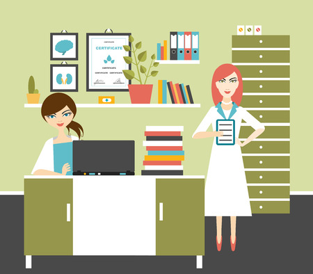 medical computer: Woman doctor and nurse office workplace. Flat vector illustration.