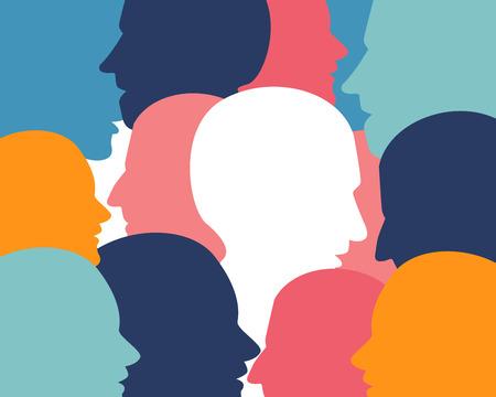 neuro: People profile heads. Illustration