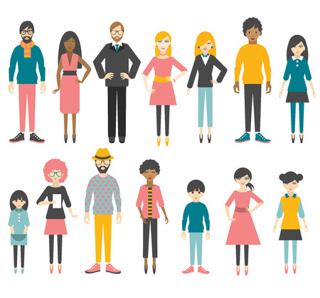 multicultural group: Collection of people flat figures. Vector.