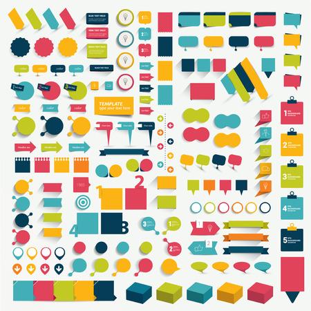 Big flat infographics set design elements schems charts buttons. Vector illustration. Illustration