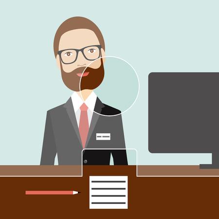 desk clerk: Man clerk in a bank. Flat vector. Illustration