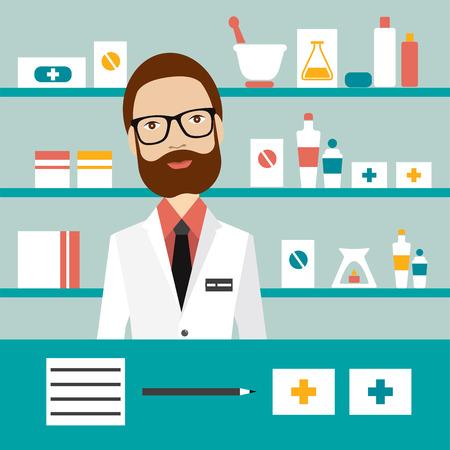 Pharmacy chemist man standing in drugstore. Flat vector. Ilustracja