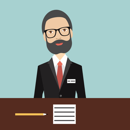 counter top: Director. Businessman in work. Flat vector. Illustration